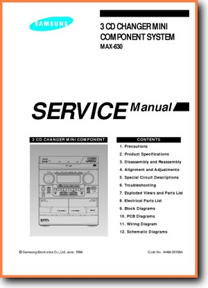 Samsung MAX-630 Mini Shelf System Main Technical Manual - PDF & Tech Help*  | English
