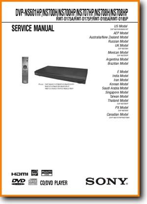 Sony DVPNS-708-HP DVD Player Main Technical Manual - PDF & Tech Help* |  English