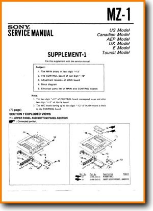 Sony MZ-1 MiniDisc Addendum - A Technical Manual - PDF & Tech Help* |  English
