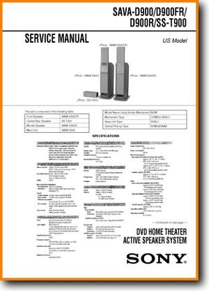 Sony SST-900 Loudspeaker Main Technical Manual - PDF & Tech Help* | English