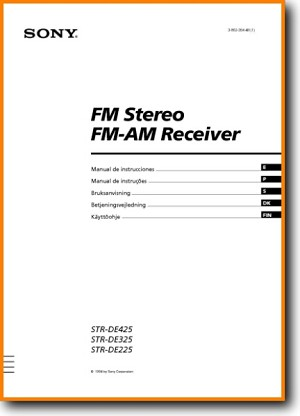 Sony STRDE-225 Amp Receiver Main User Book - PDF & Tech Help* | English