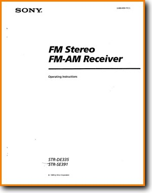 Sony STRDE-335 Amp Receiver Main User Book - PDF & Tech Help*