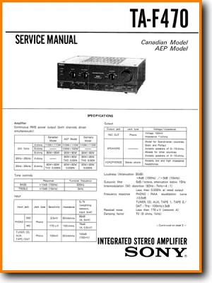 Sony TAF-470 Amp Receiver Main Technical Manual - PDF & Tech Help* | English