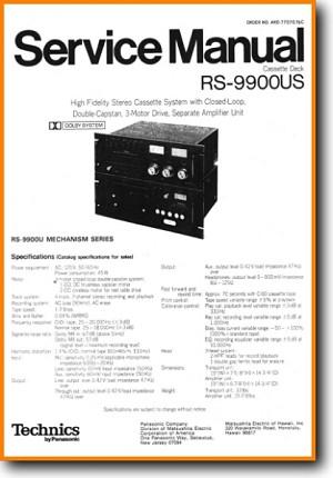 Technics RS-9900-US Tape Player Main Technical Manual - PDF & Tech Help*    English