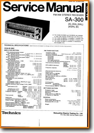 Technics SA-300 Amp Receiver Main Technical Manual - PDF & Tech Help* |  English