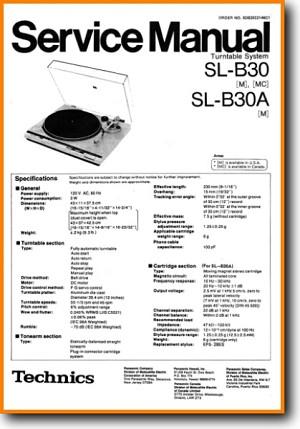 Technics SLB-30-A Turntable Record Player Main Technical Manual - PDF &  Tech Help* | English