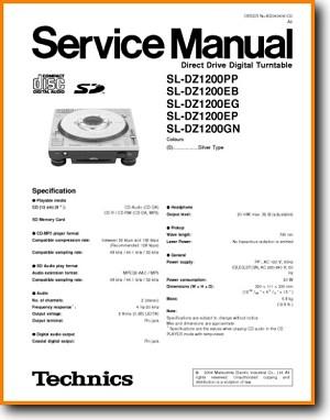 Technics SLDZ-1200 Turntable Record Player Main Technical Manual - PDF &  Tech Help*