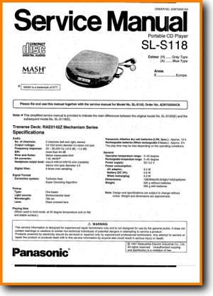 Technics SLS-118 CD Player Main Technical Manual - PDF & Tech Help* | English
