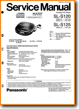 Technics SLS-125 CD Player Main Technical Manual - PDF & Tech Help* | English