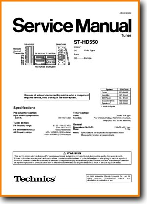 Technics STHD-550 Tuner Main Technical Manual - PDF & Tech Help* | English