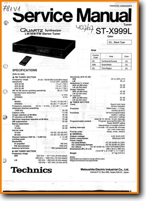 Technics STX-999 Tuner Main Technical Manual - PDF & Tech Help* | English