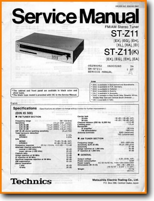 Technics STZ-11 Tuner Main Technical Manual - PDF & Tech Help* | English