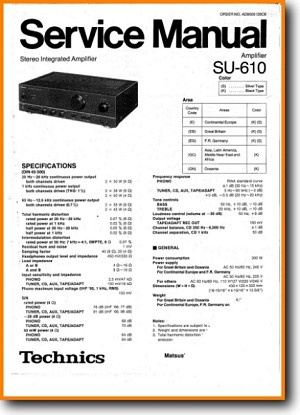 Technics SU-610 Amp Receiver Main Technical Manual - PDF & Tech Help* | English