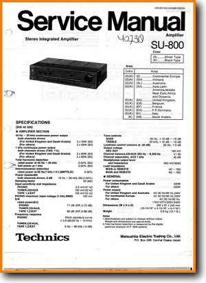 Technics SU-800 Amp Receiver Main Technical Manual - PDF & Tech Help* | English