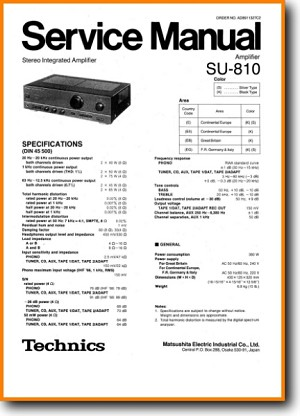 Technics SU-810 Amp Receiver Main Technical Manual - PDF & Tech Help* | English