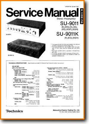 Technics SU-9011 Amp Receiver Main Technical Manual - PDF & Tech Help* | English