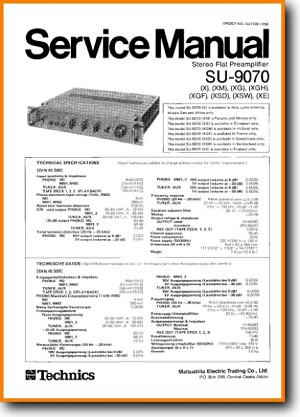 Technics SU-9070 Amp Receiver Main Technical Manual - PDF & Tech Help* | English