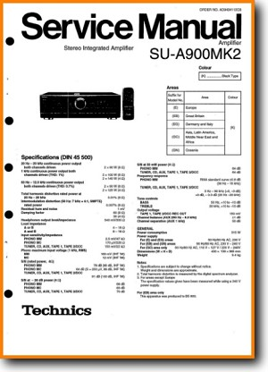 Technics SUA-900-MkII Amp Receiver Main Technical Manual - PDF & Tech Help* | English