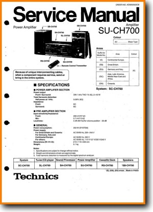 Technics SUCH-700 Amp Receiver Main Technical Manual - PDF & Tech Help* | English