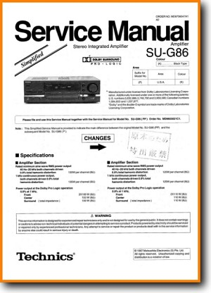 Technics SUG-86 Amp Receiver Main Technical Manual - PDF & Tech Help* | English