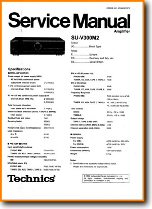Technics SUV-300-M-2 Amp Receiver Main Technical Manual - PDF & Tech Help* | English