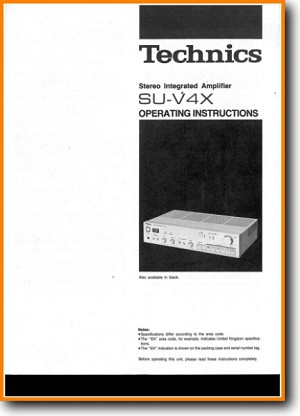 Technics SUV-4-X Amp Receiver Main User Book - PDF & Tech Help* | English