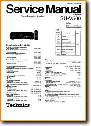 Technics SUV-500 Amp Receiver Main Schematics - PDF & Tech Help* | English