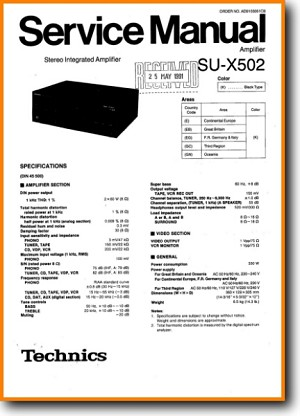 Technics SUX-502 Amp Receiver Main Technical Manual - PDF & Tech Help* | English