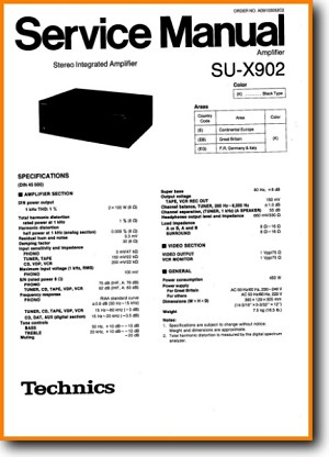 Technics SUX-902 Amp Receiver Main Technical Manual - PDF & Tech Help* | English