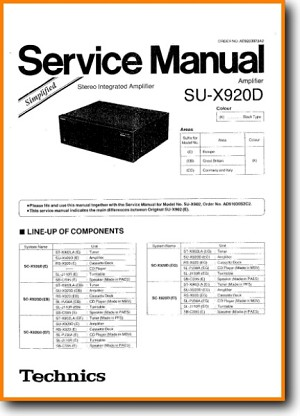 Technics SUX-920-D Amp Receiver Addendum - A Technical Manual - PDF & Tech Help* | English