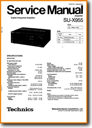 Technics SUX-955 Amp Receiver Main Technical Manual - PDF & Tech Help* | English
