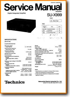 Technics SUX-999 Amp Receiver Main Technical Manual - PDF & Tech Help* | English