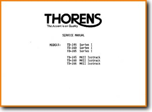 Thorens TD-160-MkII Turntable Record Player Main Technical Manual - PDF & Tech Help* | English