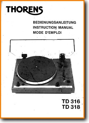 Thorens TD-316 Turntable Record Player Main User Book - PDF & Tech Help* | English