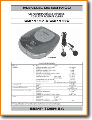 Toshiba CDP-4147 CD Player Main Technical Manual - PDF & Tech Help* | Portugese