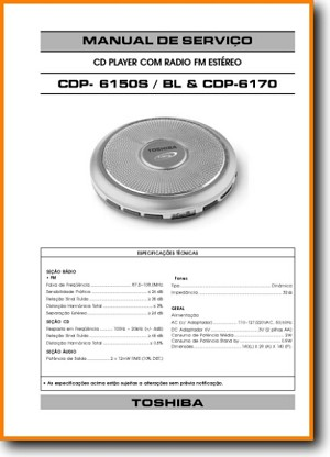Toshiba CDP-6150-S CD Player Main Technical Manual - PDF & Tech Help* | Portugese