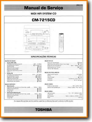 Toshiba CM-7215-CD Mini Shelf System Main Technical Manual - PDF & Tech Help* | Portugese