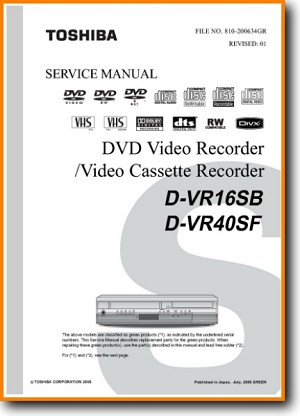 Toshiba DVR-16-SB DVD Player Main Technical Manual - PDF & Tech Help* | English
