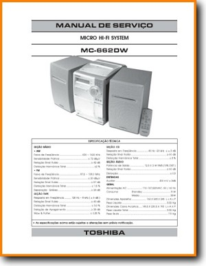 Toshiba MC-662-DW Mini Shelf System Main Technical Manual - PDF & Tech Help* | Portugese
