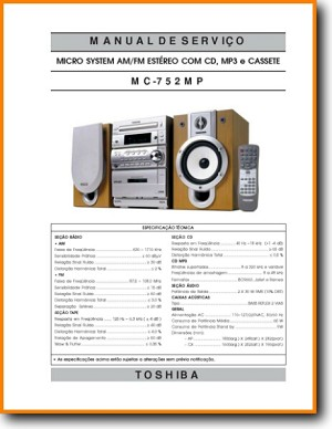 Toshiba MC-752-MP Mini Shelf System Main Technical Manual - PDF & Tech Help* | Portugese