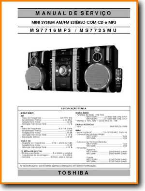 Toshiba MS-7716-MP-3 Mini Shelf System Main Technical Manual - PDF & Tech Help* | Portugese