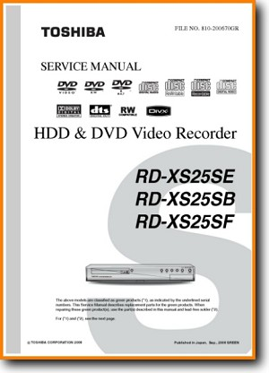 Toshiba RDXS-25-SE DVD Player Main Technical Manual - PDF & Tech Help* | English