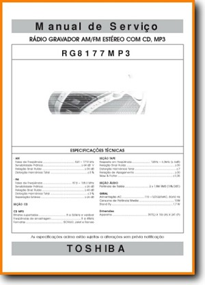 Toshiba RG-8177-MP-3 Portable Stereo Main Technical Manual - PDF & Tech Help* | Portugese