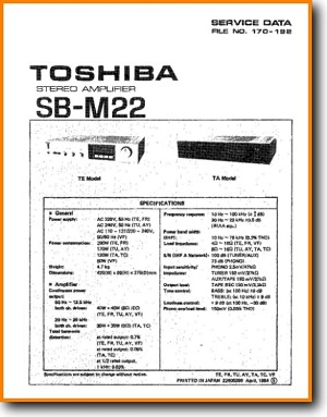 Toshiba SBM-22 Amp Receiver Main Technical Manual - PDF & Tech Help* | English