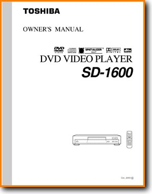 Toshiba SD-1600 DVD Player Main User Book - PDF & Tech Help* | English
