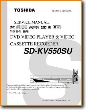 Toshiba SDKV-550 DVD Player Main Technical Manual - PDF & Tech Help* | English