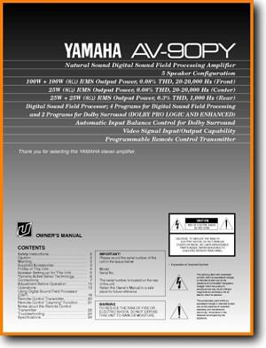 Yamaha AV-90-PY Amp Receiver Main User Book - PDF & Tech Help* | English