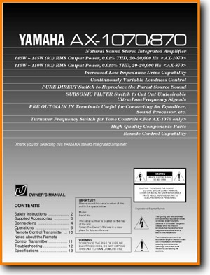 Yamaha AX-1070 Amp Receiver Main User Book - PDF & Tech Help* | English