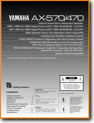 Yamaha AX-470 Amp Receiver Main User Book - PDF & Tech Help* | English