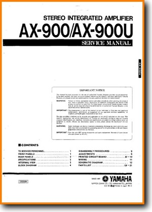 Yamaha AX-900 Amp Receiver Main Technical Manual - PDF & Tech Help* | English